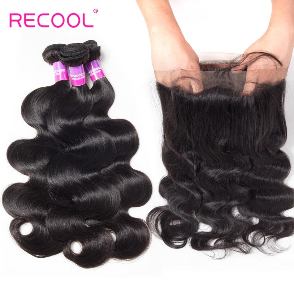 Recool Hair 360 Lace Frontal With Bundle Brazilian Hair Weave Bundles Remy Body Wave Human Hair