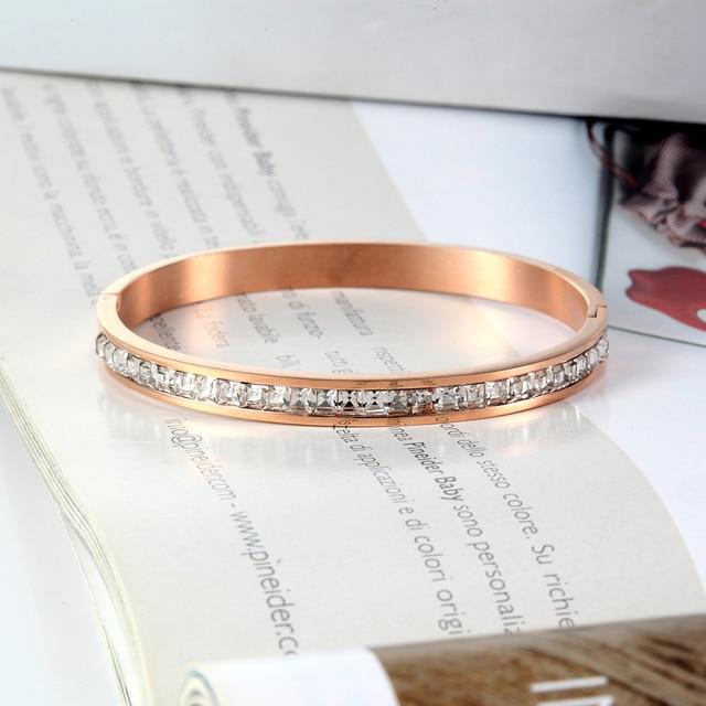 Женский инкрустированный браслет на запястье из нержавеющей