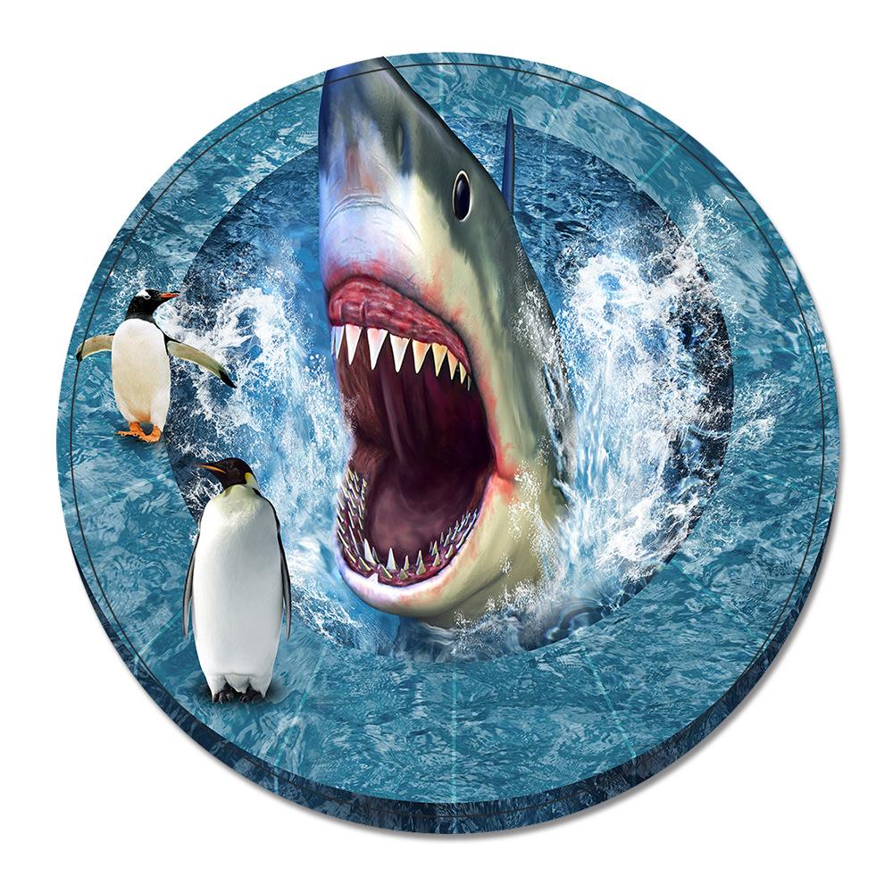 Mdct 55cm Round Cartoon Carpet Ocean Shark Sofa Floor