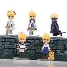 Japanese Anime Figures Q Version 5 Pcs Fate Night Game Action Figures Pvc Hot Toys 5cm Collection Models Toys Kids Gifts