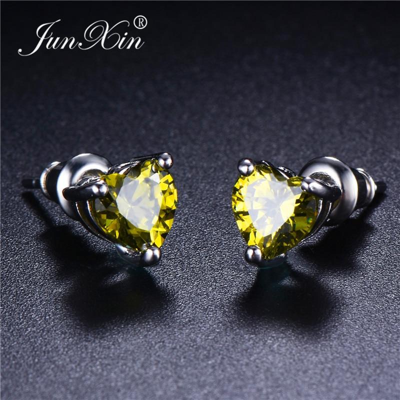 JUNXIN Zircon Heart Birthstones Earrings For Women Fancy Modern White Gold Filled Womens Stud Earrings Jewelery with stone Gift
