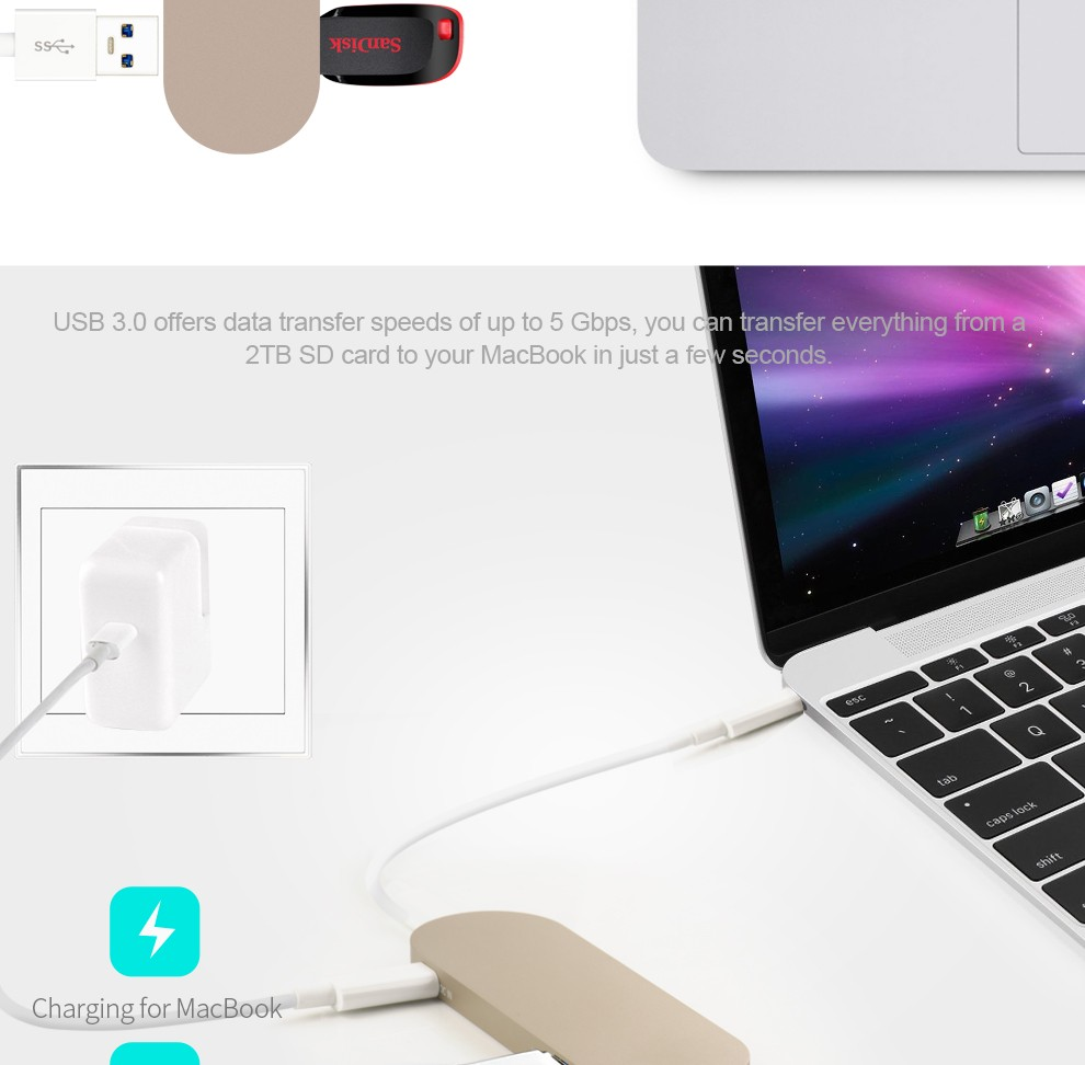 new macbook Type-C hub Charging