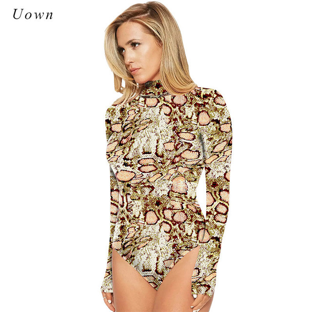 530b7717e01 2018 Women Leopard Print Bodysuit Autumn Winter Turtleneck Long Sleeve  Bodysuit Leotard Tops One piece Jumpsuits