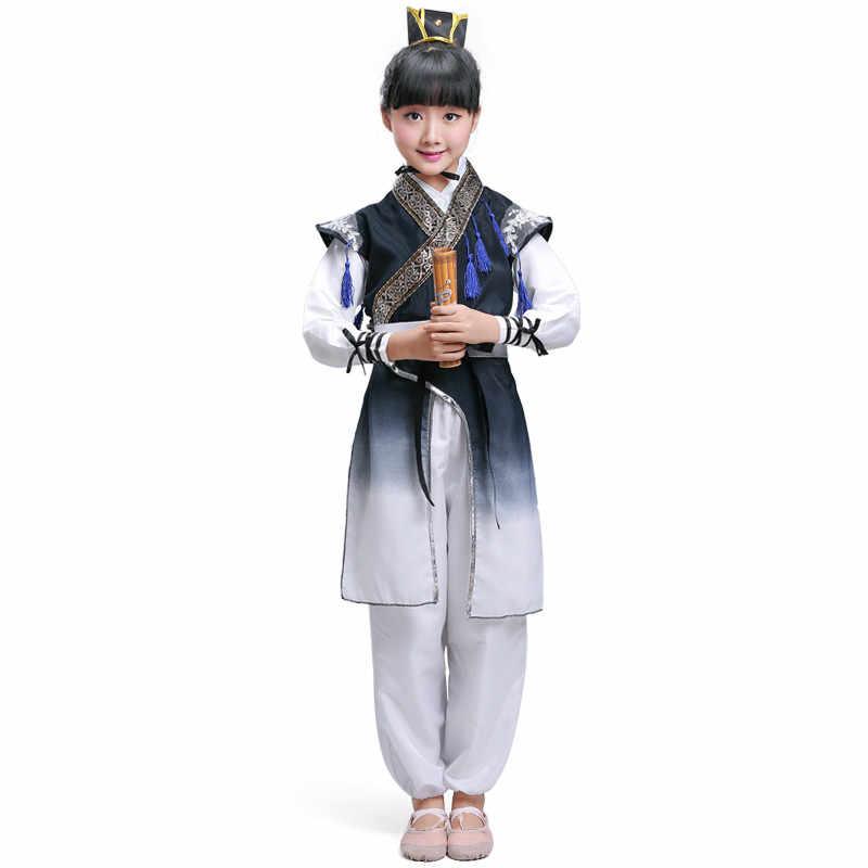 Cinese Tradizionale Folk Intrattenimento Musiche E Canzoni del Vestito Delle Ragazze Dei Ragazzi Antico Studente Bambini Costume Dinastia Tang Studioso Vestiti Cosplay Robe per la Fase