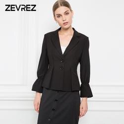 Женские пиджаки 2018 Осенняя мода длинными расклешенными рукавами Блейзер Для женщин пиджак черный Blaser женский тонкий плюс Размеры Блейзер