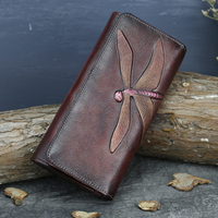 High Quality Genuine Leather Women Clutch Purse ID/Credit Card Cash Holder Dragonfly Pattern Retro Cowhide Money Long Wallets