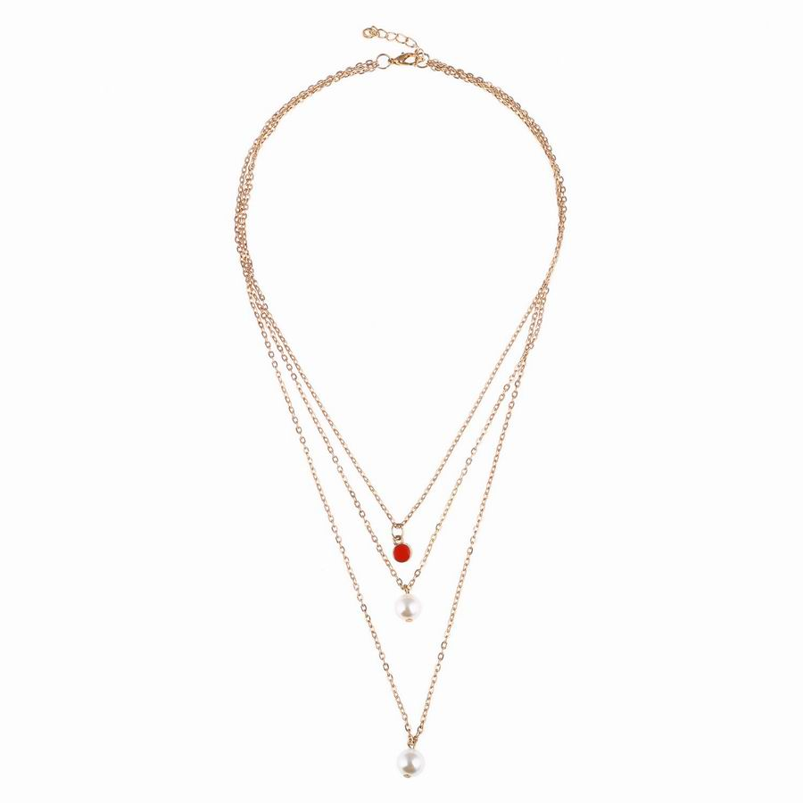 bijoux necklaces from for heart women jewelry in necklace rhinestone fashion pendant beaded multilayer item layered accessories chain