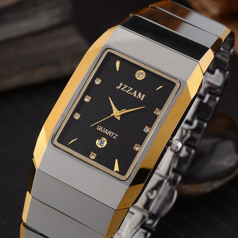Prostokąt Stylu JZZAM Luksusowej Marki Zegarek Klasyczny Mężczyzna Wolframu stali Zegarek Kwarcowy Rhinestone Mężczyzna Zegar Eleganckie Zegarki Mężczyzn w Zegarki kwarcowe od Zegarki na  Grupa 1