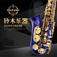 Japan Suzuki Saxophone Alto Eb Saxofone Mouthpiece SR 475F Alto Sax Gold Lacquer Professional Music Brass