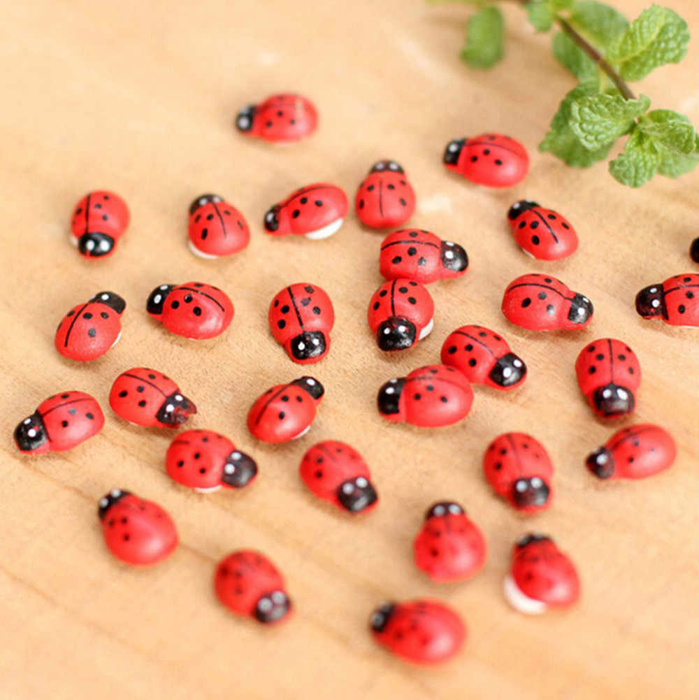 10Pcs Miniature Decorations Coccinella Septempunctata Resin Crafts DIY Little Garden Decor Superba Wood