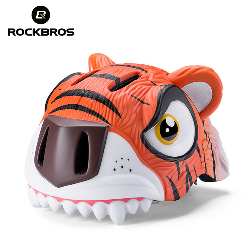 ROCKBROS Kids Helmet Cartoon Animal Project Helmet Cycling Equipment Ultralight Girls Skateboard Safety Cap Boys Scooter Helmets-in Bicycle Helmet from Sports & Entertainment    1