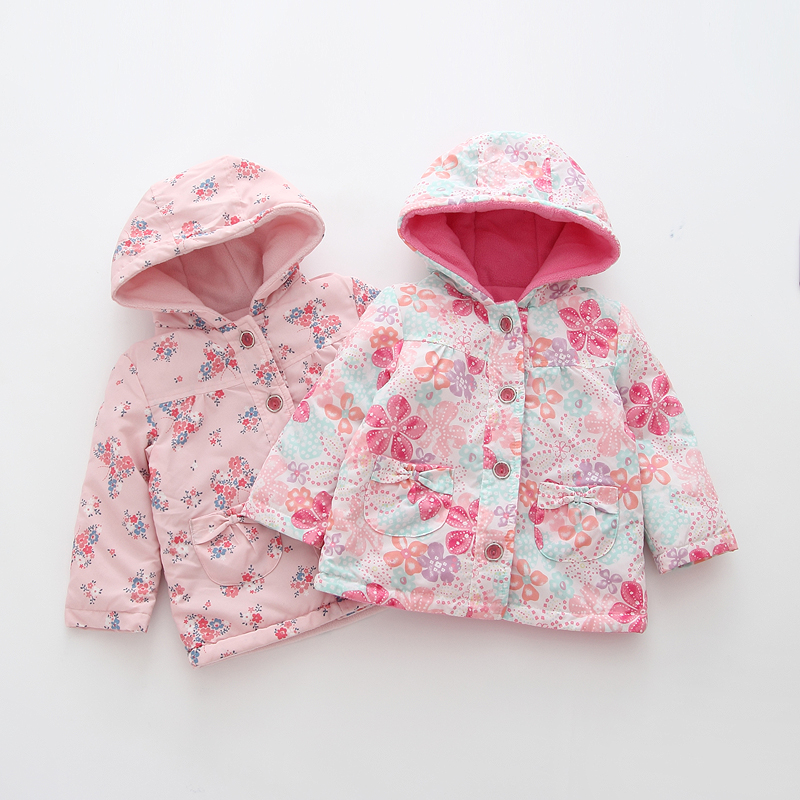 baby Girls spring stamp Hoodie Children's warm fleece jacket