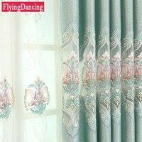 Châu âu Sang Trọng Nhung Curtain Đối Living Room Thêu Rèm Phòng Ngủ Rèm Cửa Sổ Thêu Tulle Phòng Ăn Treo Lên FD154