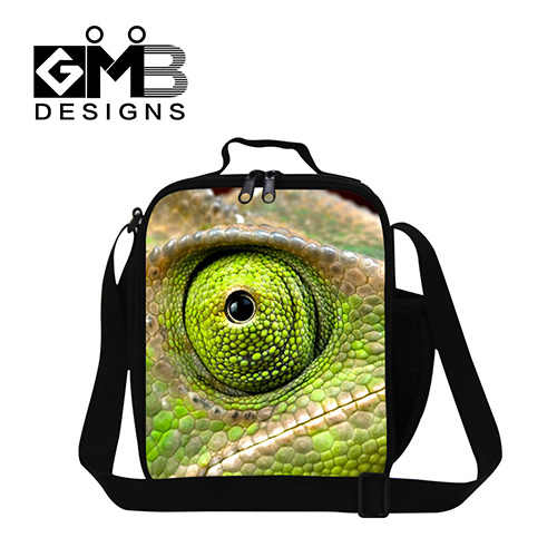 2017 Stylish Thermal Lunch bag for children school,mens cool insulated lunch box bag for work,Kids Lizard 3D Printd lunch cooler