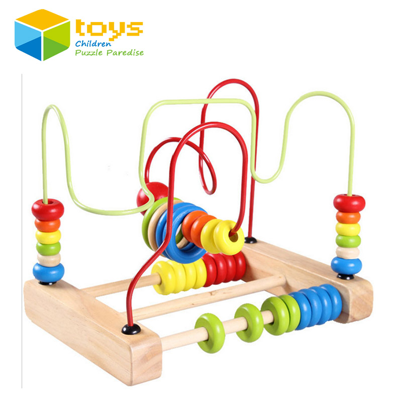 2-wire Multi-color Wooden Abacus Around Bead Wood Model Building Blocks Early Learning Educational Toys for Children Kids Gifts