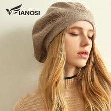 VIANOSI Wool Beret Female Winter Hats For Women Flat Cap Knit Cashmere Hats Lady Girl Berets Hat Female