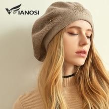 Vianosi boina de lã feminino chapéus de inverno para mulher boné liso malha chapéus de caxemira senhora menina boinas chapéu feminino