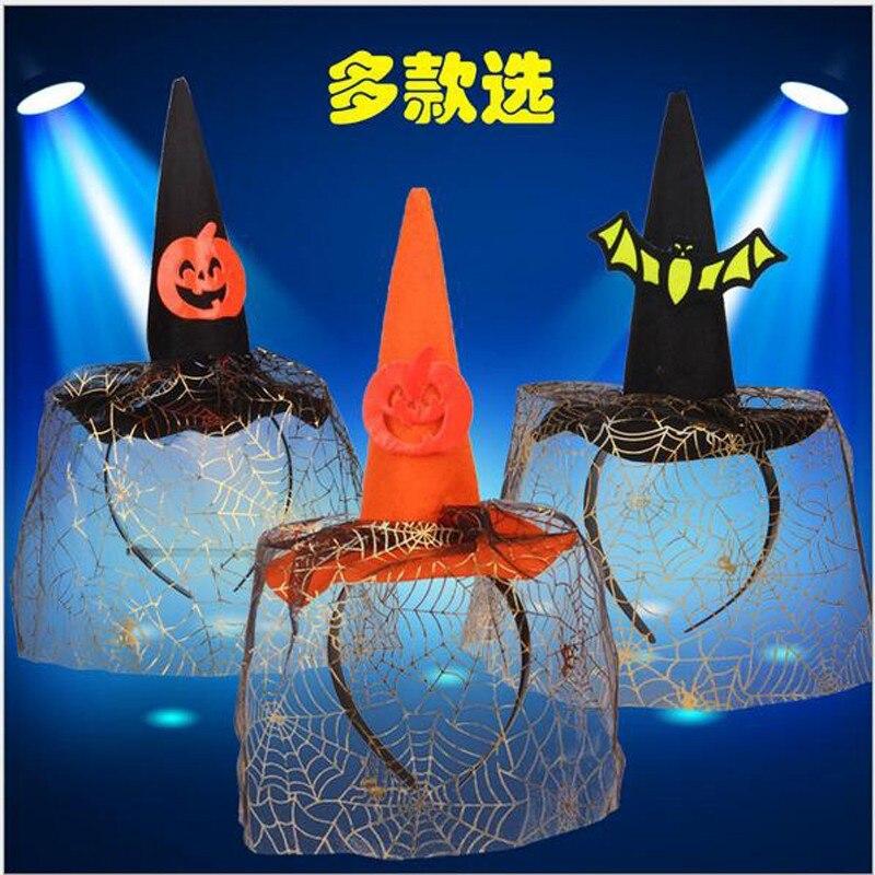 Детский Взрослый Косплей Оранжевый Розовый летучая мышь привидение, паук Хэллоуин hairband с маленькой ведьмой шляпа голова круг повязка на голову с вуалью