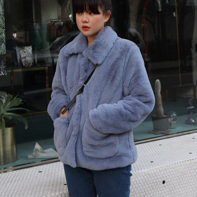 23e1d9e9f2b Women Faux Fur Coats Winter Thicken Blue Faux Fur Coats And Jackets Women  High Street Faux Fur Teddy Coats cwf0032-5