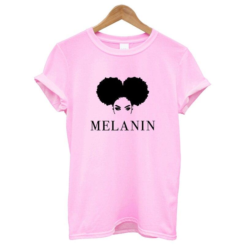 New Arrival 100% Cotton T Shirt Women Short Sleeves Funny Women T-shirt Printing Melanin Funny Tee Shirt Femme Fashion Clothes