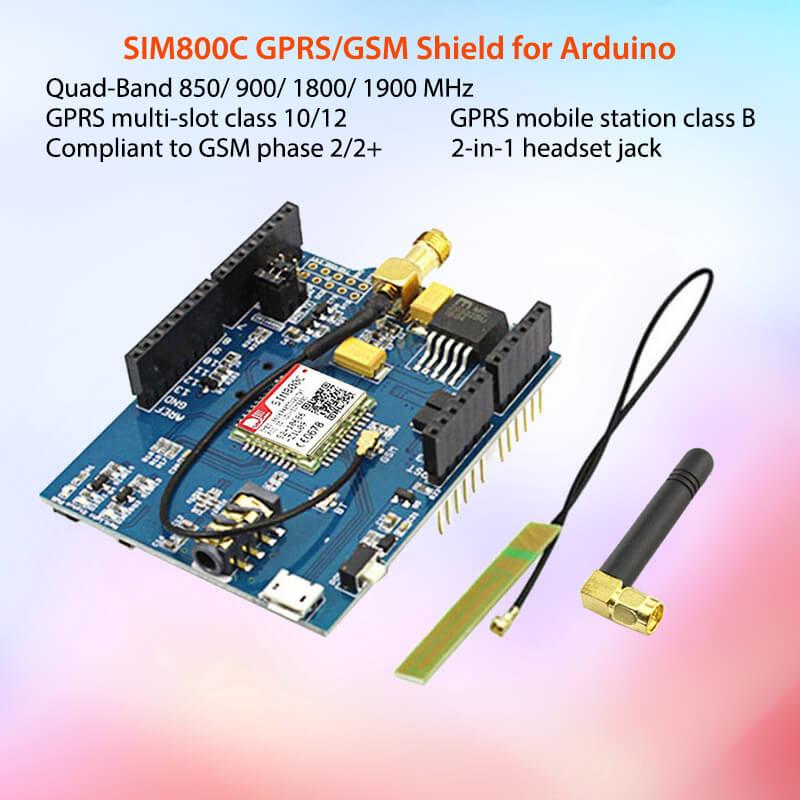 Elecrow GPRS GSM SIM800C Shield Voor Arduino SIM800C Module Met Antenne Sim900 GSM GPRS PCBA Development Board DIY Kit Modules