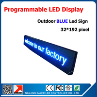 P10 outdoor single color blue led display screen board programmable and scrolling message led sign and size 40*200cm