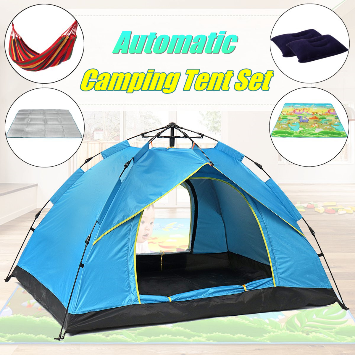 цена Automatic Camping Tent Outdoor Sunshelter 2 Persons Tent Instant Pop Up Open Anti UV Awning Tents with Hammock Picnic Mat