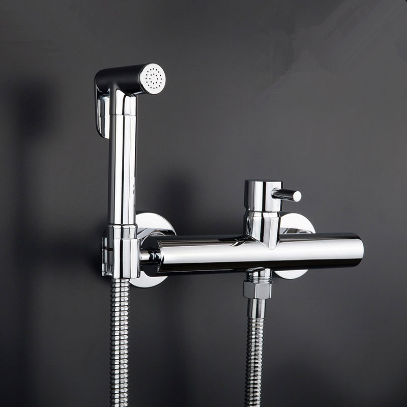 Exempt from Drilling Cold and Hot Bidet Bathroom Shower Toilet Jet Cleaner Portable Spray Brass Single Handle Wall Mount Faucet factory direct supply of stars hotel concealed embedded wall type cold and hot water shower function single copper body