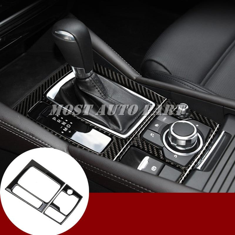 Carbon Fiber Console Gear Shift Box Cover 2pcs For Mazda 3 Mazda3 2017 2018