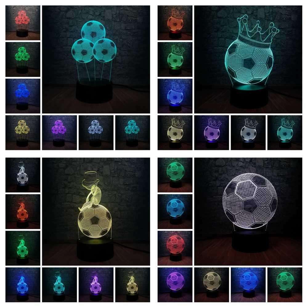 Thể thao Bóng Đá Bóng Đá Hình 3D LED USB Đèn Trang Trí Nội Thất Ngủ Bé Ánh Sáng Ban Đêm Phòng Trang Trí Real Madrid Người Hâm Mộ Tuổi Teen Quà Tặng đồ chơi
