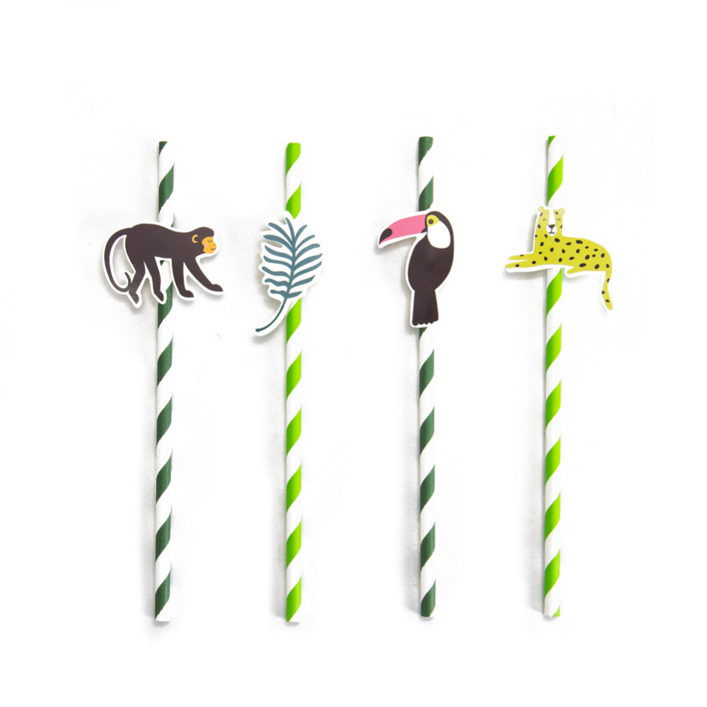 Pack of 24 Jungle Animal Party Paper Straws with Toucan Monkey Tropical Leaves Cutouts Tropical Birthday Party Shower Supplies-in Party DIY Decorations from Home & Garden