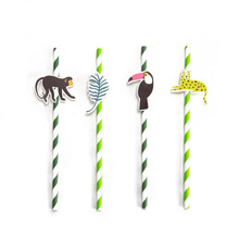 Pack of 24 Jungle Animal Party Paper Straws with Toucan Monkey Tropical Leaves Cutouts Tropical Birthday Party Shower Supplies