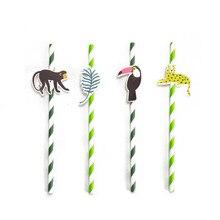 Paquet de 24 pailles en papier pour fête des animaux de la Jungle, avec Toucan et feuilles tropicales de singe, fards, fournitures de fête danniversaire et de fête tropicale