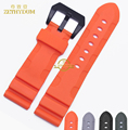 Silicone Rubber watchband sport watch strap 24mm 26mm wristband bracelet waterproof black accessories belt for PAM00389  616