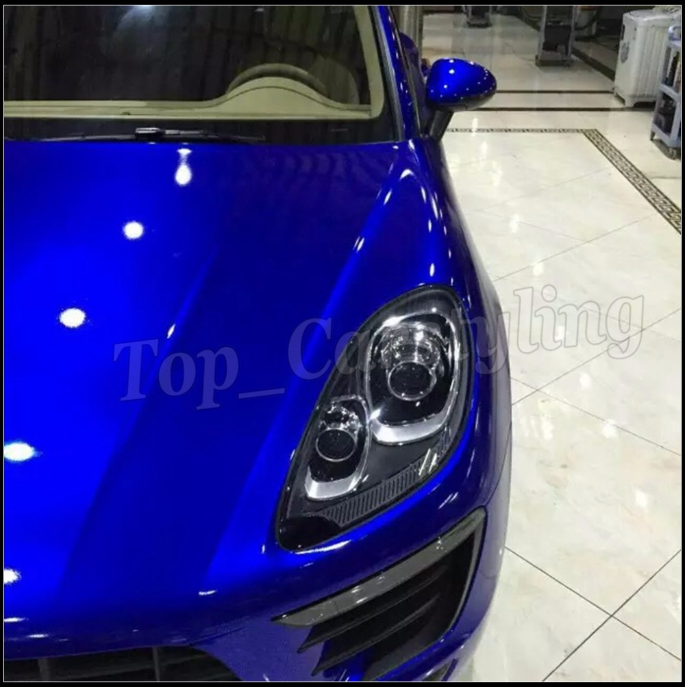 Minuit bleu Brillant Métallique Enveloppe de Voiture de Vinyle Film Style Avec Air Livraison plein Brillant Couverture de voiture Foile PROTWRAPS 1.52x20 m/Roll