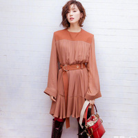 New star with orange round collar long sleeved Chiffon pleated waist tie lace dress F06014