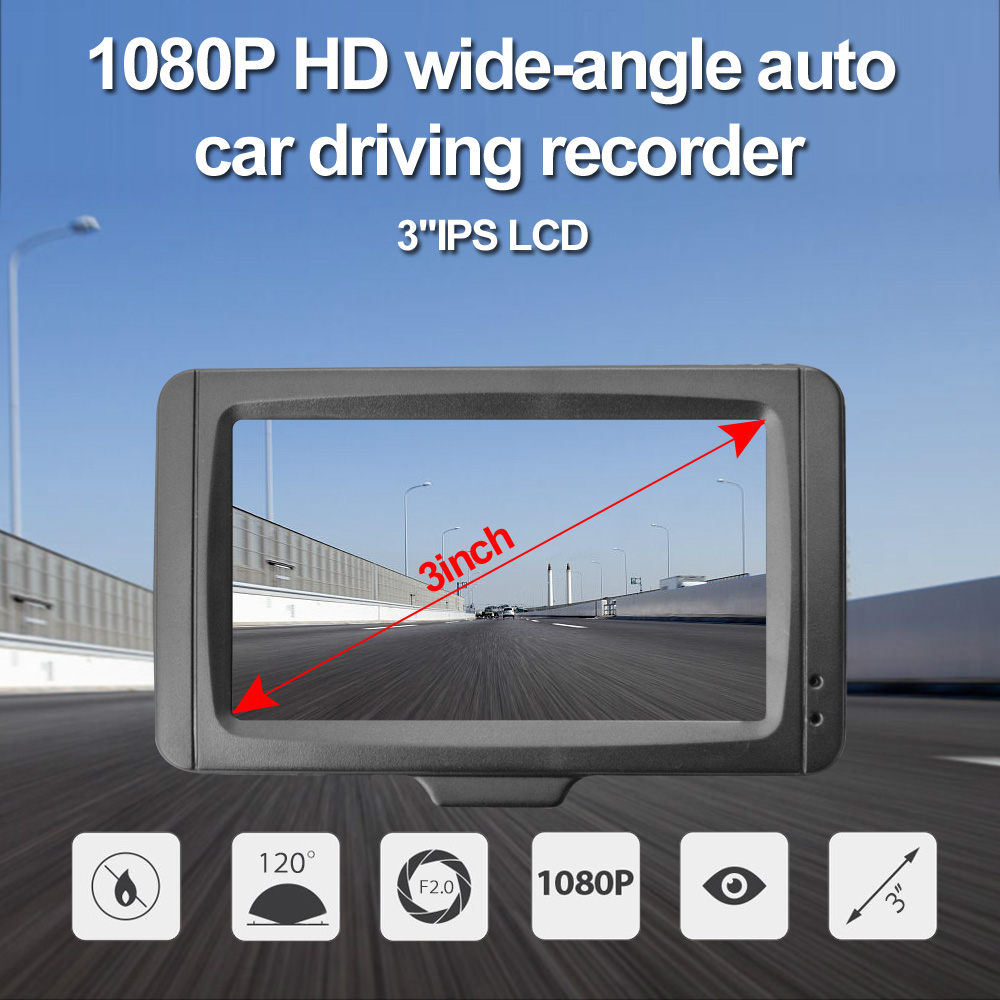 18New Mini Car DVR CAR CAMERA FHD 1080P at 30 fps built-in 6 layer lenses and 3.0 inch HD screen USB car charger AKL7D
