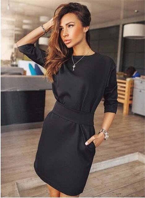 Casual Black Dress Half Sleeve O-neck Vintage Party Sexy Dresses