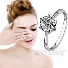 Luxury Silver Crystal Rings Wedding Engagement Jewelry Gift Women 5 Size