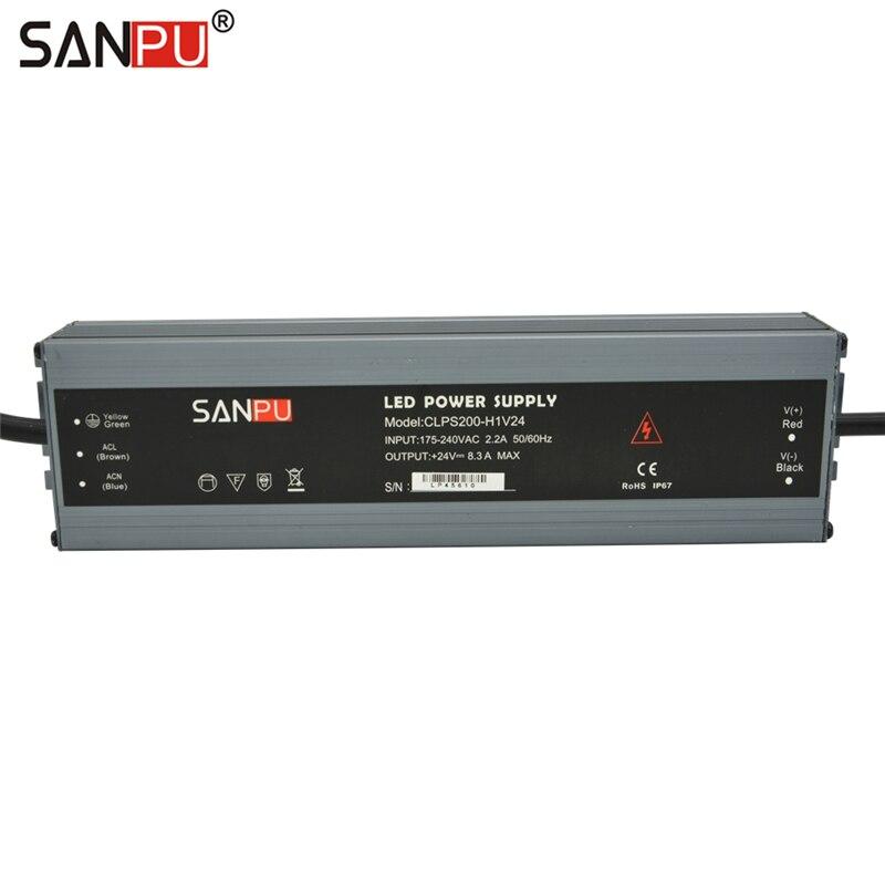 SANPU Étanche Alimentation 24 Volts 200 w 8A IP67 24VDC LED Pilote 220 v 230 v AC à DC 24 v Transformateur D'éclairage En Aluminium Mince