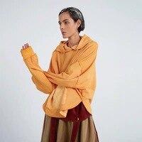 IRINAY088 2019 SS Новая коллекция оригинальный дизайн оранжевый Негабаритных Толстовки с длинными рукавами для женщин