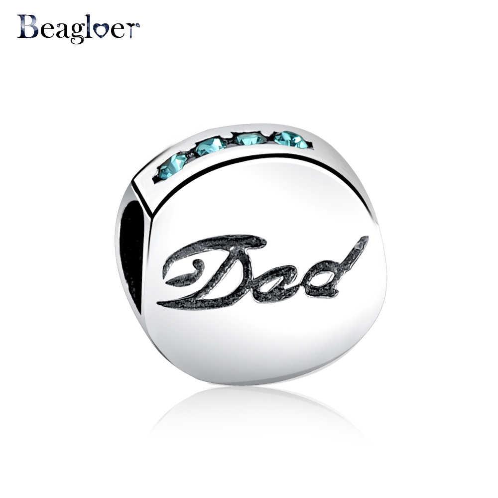Beagloer và 925 Sterling Silver Dad Mom Charm Beads Fit Handmade Vòng Tay Mặt Dây Chuyền Đích Thực DIY Món Quà Trang Sức Cho Mẹ PSMB0543