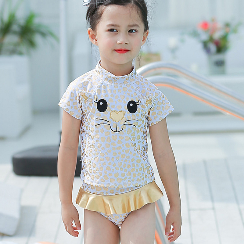 2-8 Years Baby Girls Swimsuits Cartoon Cat Leopard Print Style Children Swimwear Cute Toddlers Kids Hot Springs Bathing Suits
