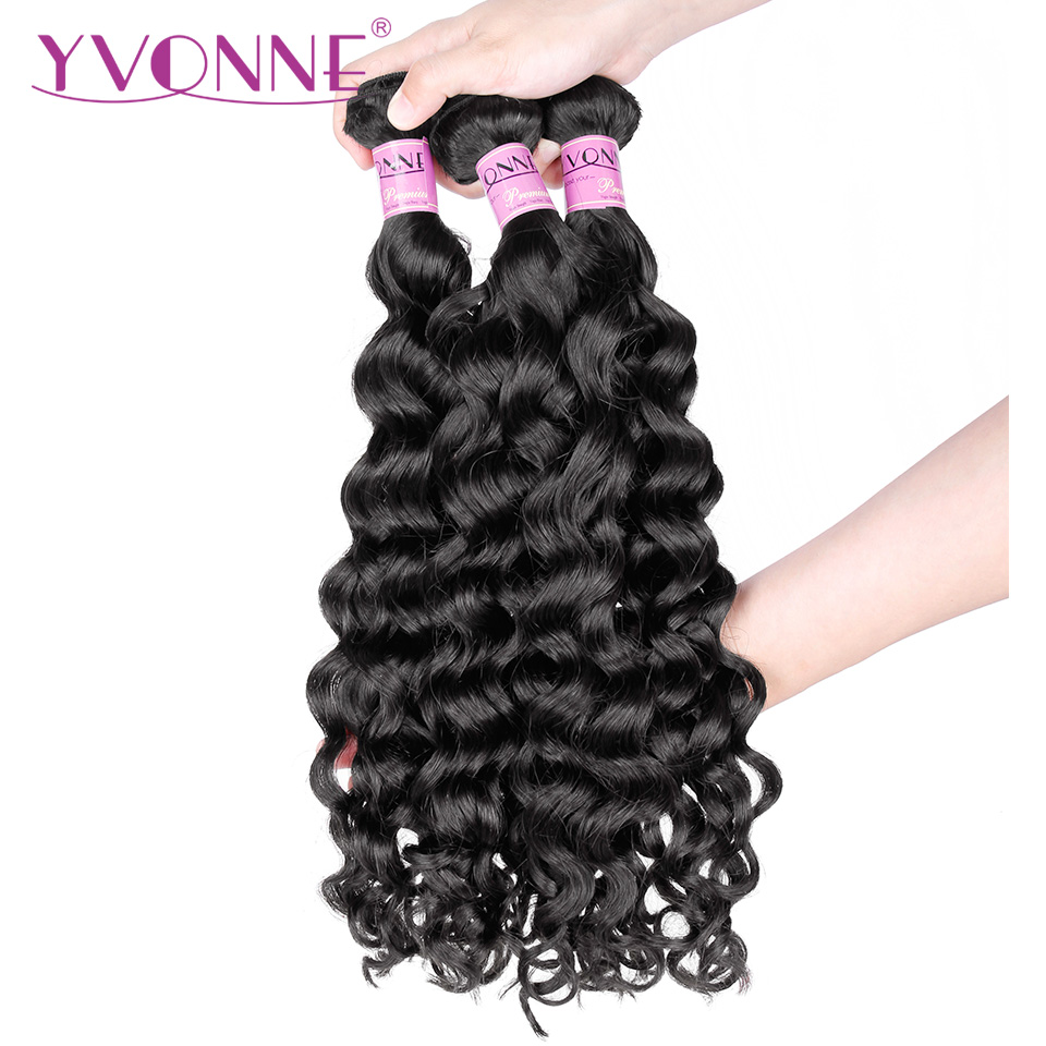 YVONNE Italian Curly Brazilian Hair Weave Bundles 3Pcs Virgin Human Hair Weave Natural Color 8-28 Inches Free Shipping