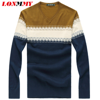 LONMMY M 7XL 8XL Wool Tencel Pullover Men Sweater Striped Straight Casual Mens Sweater V Neck