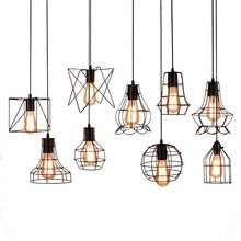 BOKT Nordic Pendant Ceiling Lamps Black Iron Vintage Light E27 Incandescent 110-250V Hanglamp Industrieel
