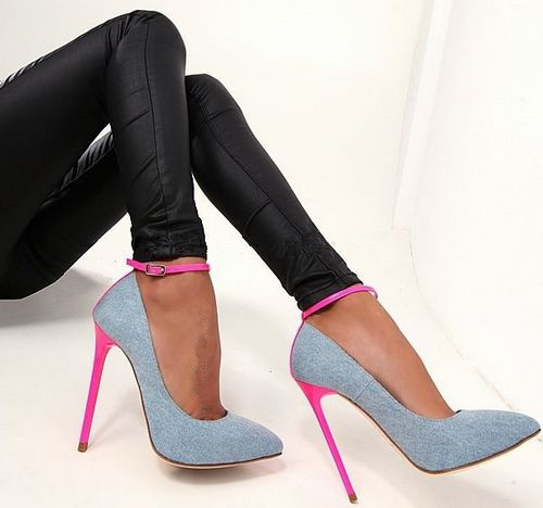 Abesire 2019 Women Classical Style Pointed Toe Blue Denim Ankle Strap Pumps Ladies Buckle Strap High Heels Dress Party ShoesAbesire 2019 Women Classical Style Pointed Toe Blue Denim Ankle Strap Pumps Ladies Buckle Strap High Heels Dress Party Shoes