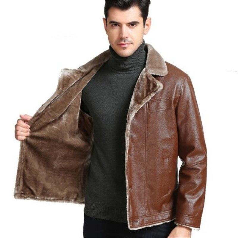 Automne En D'hiver Veste Et Casual Mode De Cuir Manteau Unique brown Fourrure 2018 Poitrine Épais Black Hommes Nouveau D29bEIWHYe