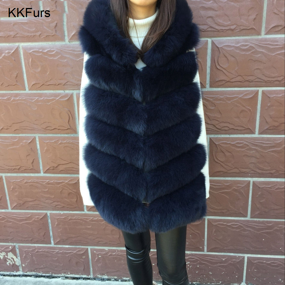 2019 New Winter Women Real Fox Fur Hooded Vest Warm Thick Fur Luxury Style Top Quality