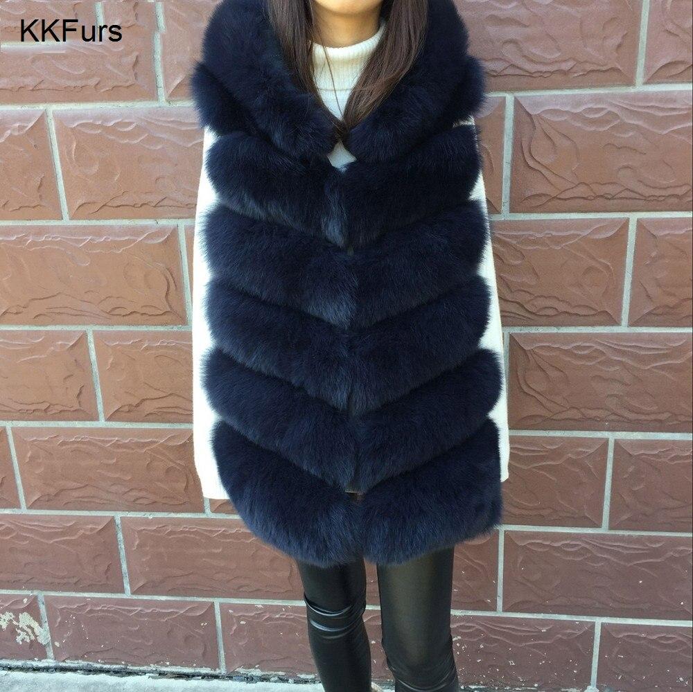 JKKFURS 2018 nuevo invierno mujeres Real Fox piel con capucha chaleco grueso caliente moda de la señora de calidad superior 6 filas Gilet S7236